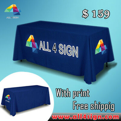 6' 4 sides custom table throw for trade show FREE SHIPPING NOW!!!