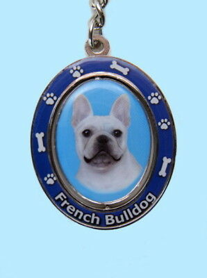 """New! White French Bulldog Dog 2½"""" H. Metal Two-Sided Spinning Key Chain Keychain"""