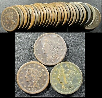 Half Roll Of Large Cents - 25 Coins - Braided Hair And Coronet Large Cents