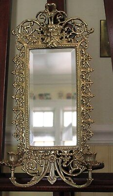 Vintage French Antique Gold Gilt Brass Sconce  Mirror & Candle Holder