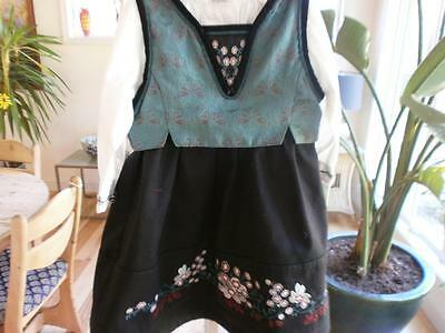 4-6 mo EU68  EXCEPTIONAL STYLISH TEAL NORWEGIAN  GIRLS BUNAD FROM NORWAY