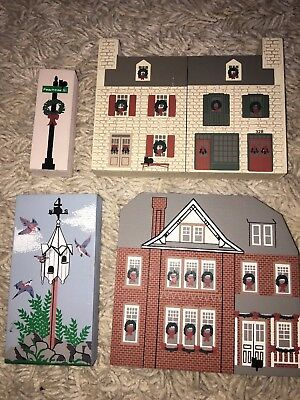 4 - The Cats Meow Christmas Shelf Sitters- Houses,4th Day of Christmas,Sign