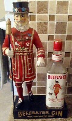 """Beefeater Gin display 17"""" Yeoman guard The Imported One has vintage empty bottle"""