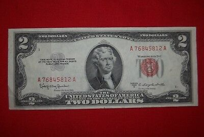 $2 Red Sealed 1953C United Staes Vintage legal currency Very Nice Bill see pics
