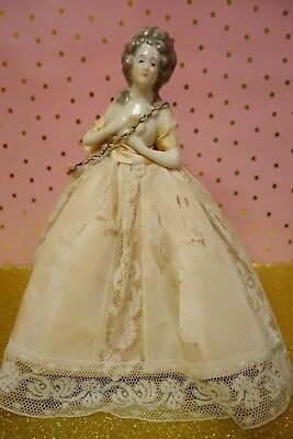 Antique Porcelain Lady Half Doll Boudoir Lamp W/skirt Shade Germany German