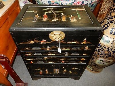 VINTAGE Oriental 160 flatware Cabinet BLACK LACQUER Mother of Pearl CHINOISERIE