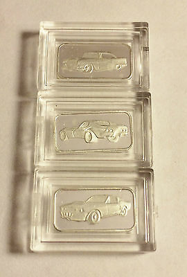 "3 x 1 Gram ""Muscle Car Series"" 999.0 Pure Silver Bullion Ingots a"