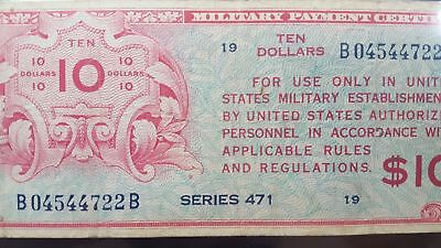 Series 471 USA $10 Military Payment Certificate Very Fine 25 PMG RARE