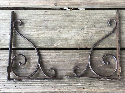 "2 Vintage 9""x 7"" Cast iron Sink Garden Shelf Brackets Rustic Metal Estate Find"