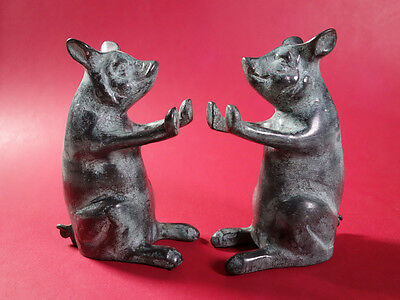 Rare Pair of Vintage Solid Brass Pig Bookends / Figurines