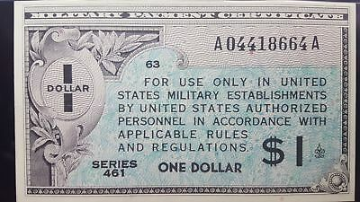 Series 461 USA $1 Military Payment Certificate About UNC 50 EPQ PMG WOW
