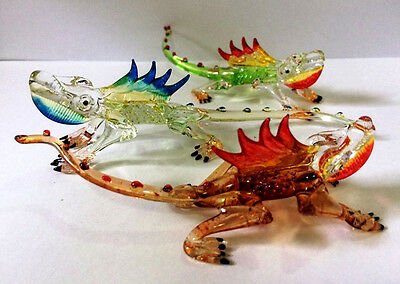 Animal Figurine Hand Blown Glass Chameleon Set Miniature Collectible Gift Decor