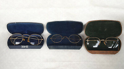 3 Pair Of Old Eyeglasses - 1 B&l - Two Gold Filled - One Wire Rim - W/cases