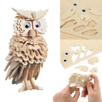 3D Wooden Owl Puzzle Jigsaw Woodcraft Kids Kit Toy Model DIY Construction Blocks