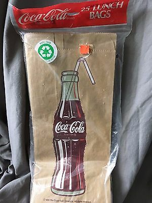 Coca-Cola Brown Paper Lunch Bags New 1991 Factory Sealed 25 Pack Coke Bottle