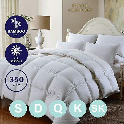 Royal Comfort 350GSM Luxury Soft Bamboo All-Seasons Quilt Duvet Doona All Sizes