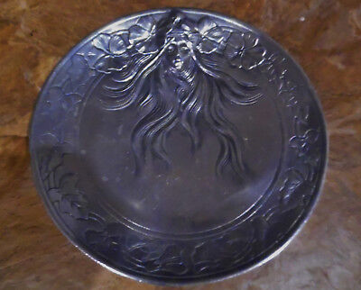 Awesome Vintage Mucha Girl Silver Metal Tray Art Nouveau Vanity Or Desk