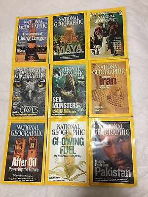 Lot of 9 National Geographic Magazines Mixed Dates
