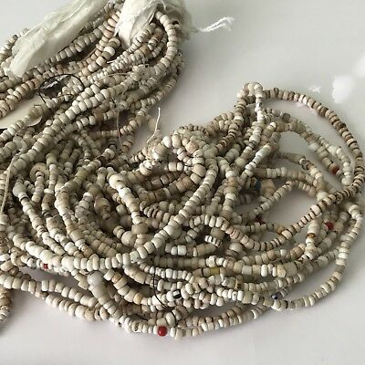"""African Trade beads White & Tan old glass seed beads mixed 16"""" Strand 3mm Beads"""