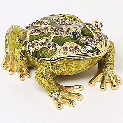 Large Frog Figurine Trinket Hinged Pill Box Ornament New Collectable Gift