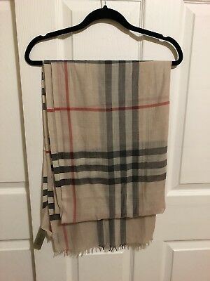 100% Authentic Burberry Lightweight Check Wool and Silk Scarf Stone Check