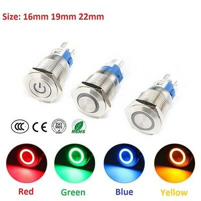 16/19/22mm Car Instrument S/S LED Metal Waterproof Push Button Switch 6V-220V