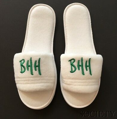 NEW Terrycloth BEVERLY HILLS HOTEL Monogrammed BHH Slippers-White/Green