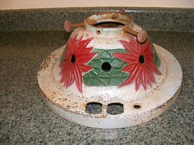 Vintage 1927 NOMA Cast Iron Christmas Tree Stand Poinsettias Painted Red Green