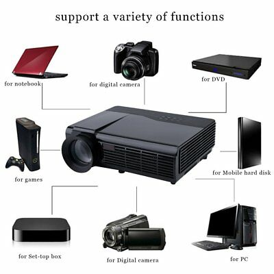 LED 5000 Lumens FULL HD 1080P Home Projector Theater Zoom 10000:1 3D HDMI USB VC
