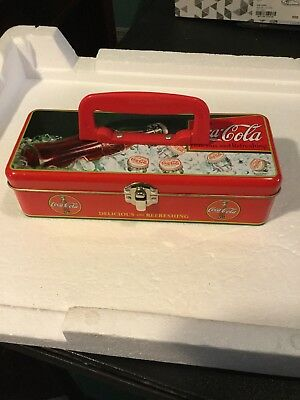 """Coca Cola Small Tin Tool Box w/Handle & Latch """"Delicious & Refreshing"""" 8.5"""" Long"""