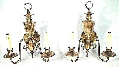 Pair Of Mid Century Regency Urn Back Double Arm Brass Sconces