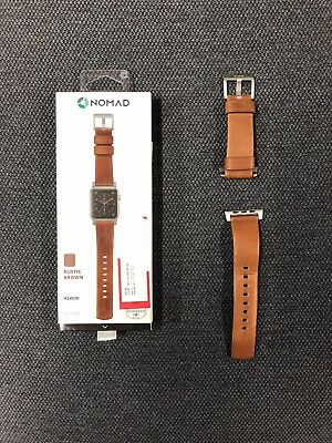 Nomad Apple Watch 42mm Leather Strap In Rustic Brown And Sliver Lugs