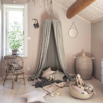 Grey Canopy Bed Mosquito Cotton Bedding Baby Kids Reading Play Curtain Tents UK
