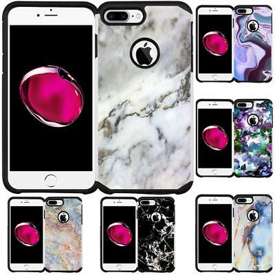 Marble Design Hybrid Case Dual Layer Cover for iPhone 7 Plus / iPhone 8 Plus