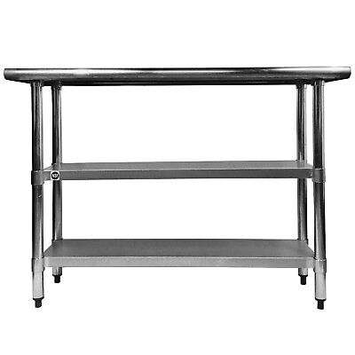 Commercial Stainless Steel Work Prep Table with 2 undershelves - 30 x 36