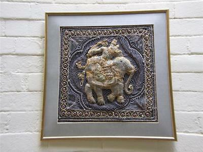 ANTIQUE THAI HAND EMBROIDERED  ART WITH ELEPHANT  DESIGN FRAMED 1900's