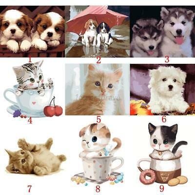 AU Frameless Paint By Number Kit Multi-Colored Cat Dog Animals Cartoon Painting