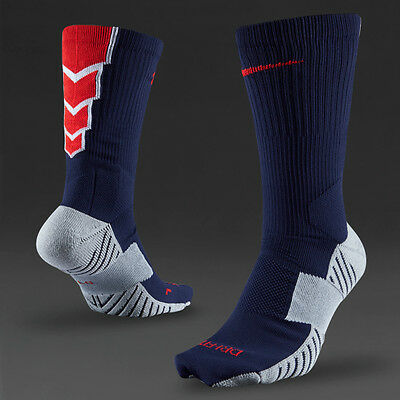Nike Matchfit Crew Dri-Fit football calf length socks - blue & red UK 2-5