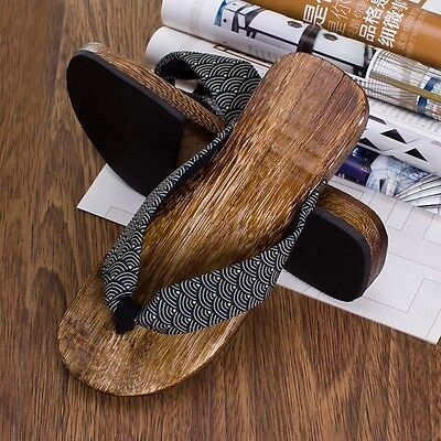 Mens Japanese Geta Clogs Flip Flops Thong Sandals Wooden Slippers Shoes Fashion