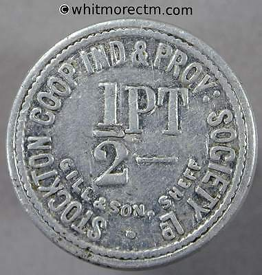 Co-Operative Society Token Stockton Ind Prov 20mm ½ Pt Uniface By Gill. Alum