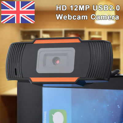 HD 1080P 12 MP USB2.0 Webcam Camera with MIC Clip-on for Computer PC Laptop UK