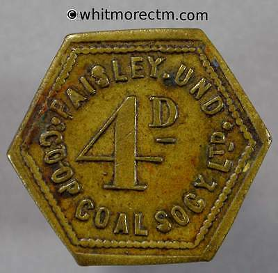 Co-Operative Society Token Paisley Und Coal Society 4D 20mm Hexagonal