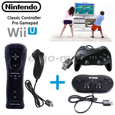 Wii Motion Plus Remote Controller + Nunchuck Classic Controller for Wii Game US