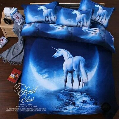 Unicorn Doona Quilt Duvet Covers Set Single Size Bed Cover Animal Bedding Set
