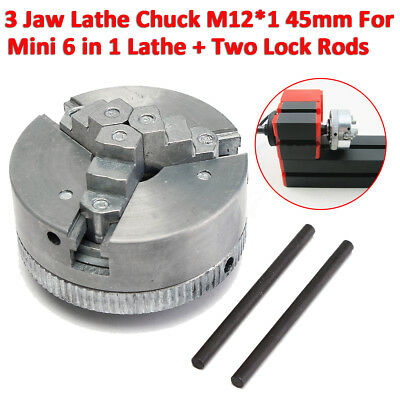 3 Jaw Self-Centering Lathe Chuck M12*1 45mm For Mini 6 in 1 Lathe+ 2 Lock  US
