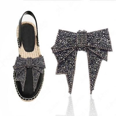 2Colors Vintage Style Tone Rhinestone Crystal Bow-knot Shoes Clips Decoration