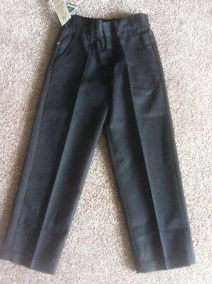 Bnwt Boys Back To School Black Water Repellent Trousers Age 8-9 Years New