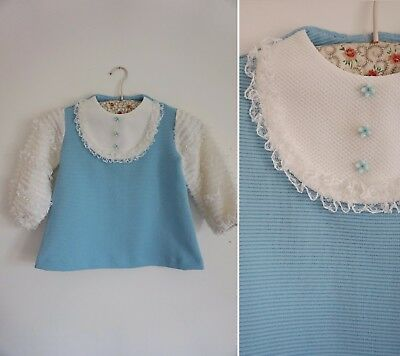 GREAT MOD vtg 1960s BLUE CRIMPLENE LACE RUFFLE GIRLS DRESS AGE 1 12 MONTHS