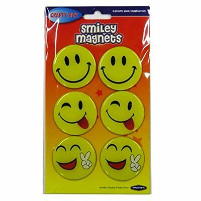 Smiley Face Solid Magnets  Fridge Emoji Magnets Size 50mm Diameter - Pack of 6
