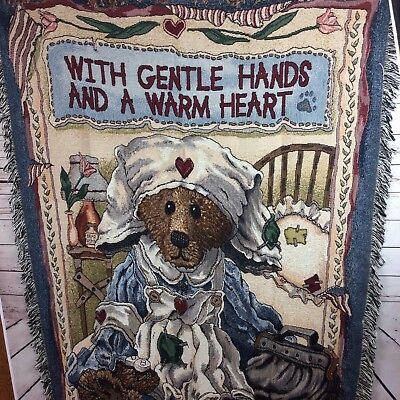 Boyds Bears With Gentle Hands & A Warm Heart Nurse Woven Tapestry Throw Blanket